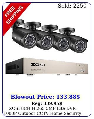 zosi ch h mp lite dvr p outdoor cctv home security camera system ki