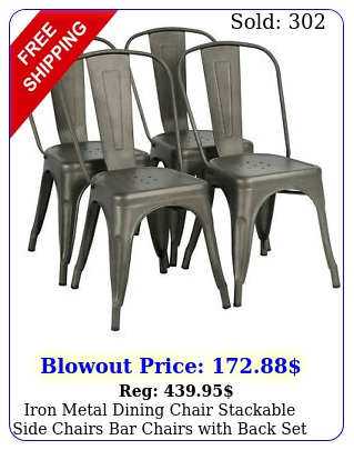 iron metal dining chair stackable side chairs bar chairs with back set of