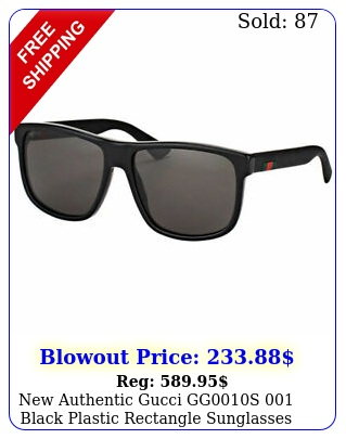 authentic gucci ggs black plastic rectangle sunglasses grey len