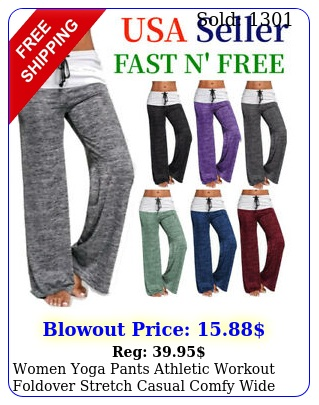 women yoga pants athletic workout foldover stretch casual comfy wide trousers u
