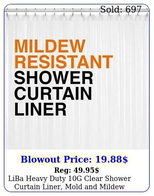 liba heavy duty g clear shower curtain liner mold mildew resistant