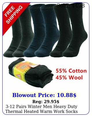 pairs winter men heavy duty thermal heated warm work socks boots siz