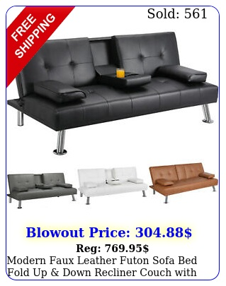 modern faux leather futon sofa bed fold up down recliner couch with cup holde