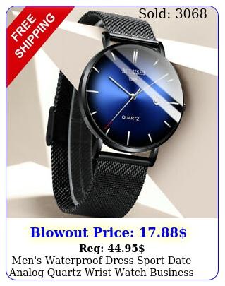 men's waterproof dress sport date analog quartz wrist watch business watches
