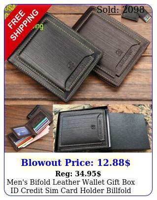 men's bifold leather wallet gift id credit sim card holder billfold clutc