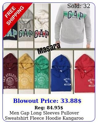men gap long sleeves pullover sweatshirt fleece hoodie kangaroo pocket