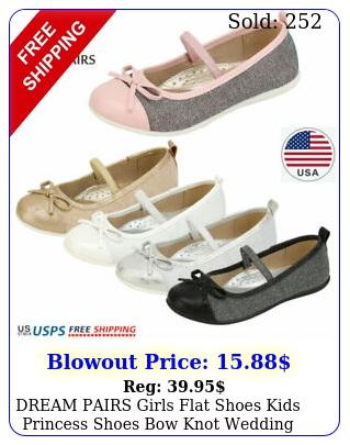 dream pairs girls flat shoes kids princess shoes bow knot wedding dress shoe