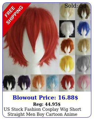 us stock fashion cosplay wig short straight men boy cartoon anime party hair wi