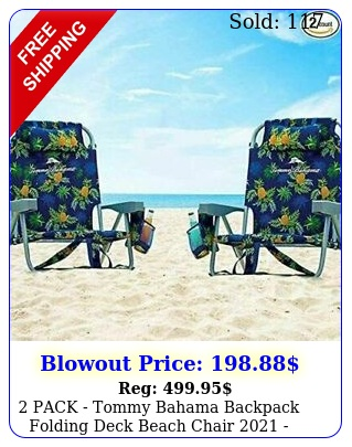 pack tommy bahama backpack folding deck beach chair  blue w pineappl