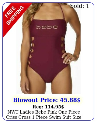 nwt ladies bebe pink one piece criss cross piece swim suit size mediu