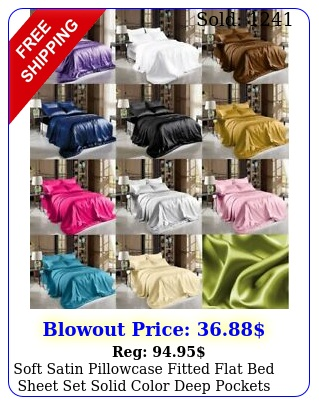 soft satin pillowcase fitted flat bed sheet set solid color deep pocket
