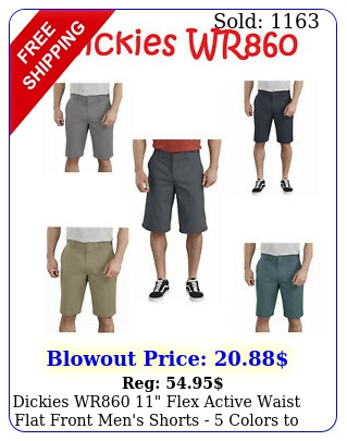 dickies wr flex active waist flat front men's shorts  colors to choos