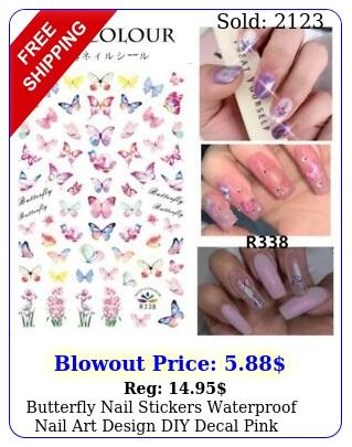 butterfly nail stickers waterproof nail art design diy decal pink flowe