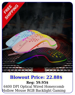 dpi optical wired honeycomb hollow mouse rgb backlight gaming gamer mic