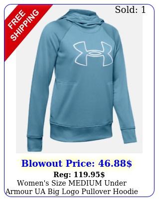 women's size medium under armour ua big logo pullover hoodie  nw