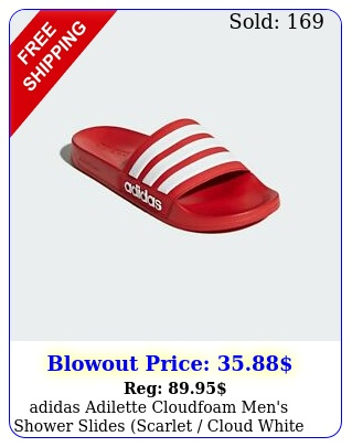 adidas adilette cloudfoam men's shower slides scarlet cloud white scarle