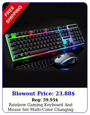 rainbow gaming keyboard mouse set multicolor changing backlight mouse mic