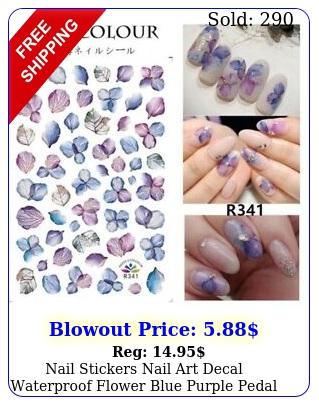 nail stickers nail art decal waterproof flower blue purple peda