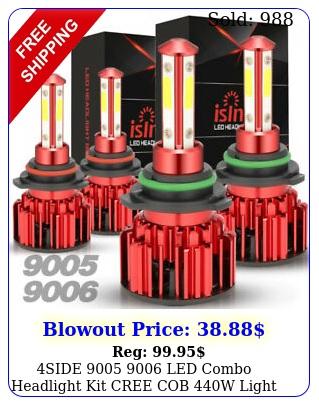 side  led combo headlight kit cree cob w light bulbs high low bea