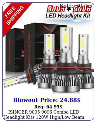 isincer  combo led headlight kits w highlow beam bulbs k whit
