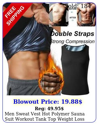 men sweat vest hot polymer sauna suit workout tank top weight loss body shape