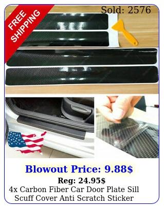 x carbon fiber car door plate sill scuff cover anti scratch sticker accessorie