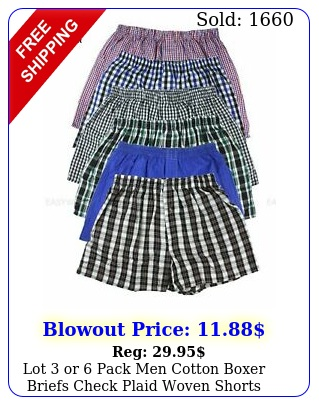 lot or pack men cotton boxer briefs check plaid woven shorts brief underwea