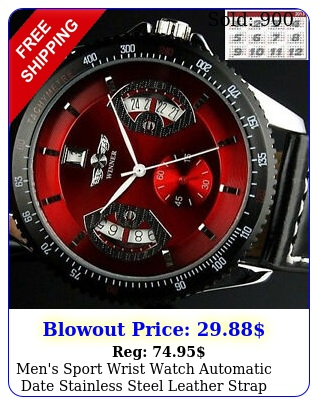 men's sport wrist watch automatic date stainless steel leather strap watche
