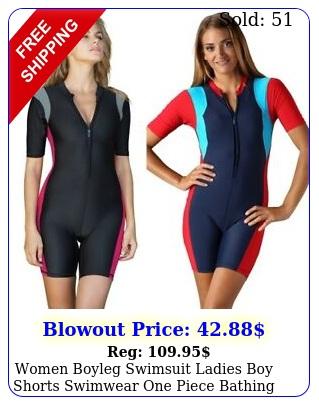 women boyleg swimsuit ladies boy shorts swimwear one piece bathing suit blac