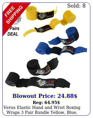 verus elastic hand wrist boxing wraps pair bundle yellow blue blac