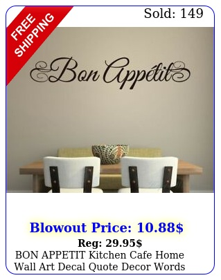 bon appetit kitchen cafe home wall art decal quote decor words lettering desig
