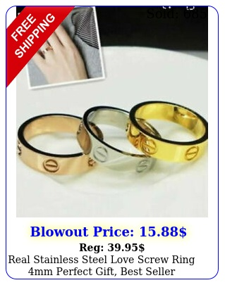 real stainless steel love screw ring mm perfect gift best selle