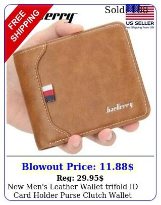 men's leather wallet trifold id card holder purse clutch wallet billfol