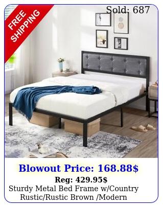 sturdy metal bed frame wcountry rusticrustic brown modern platform headboar