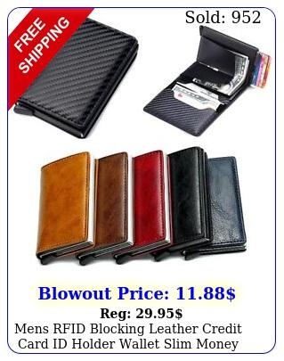 mens rfid blocking leather credit card id holder wallet slim money clip purs