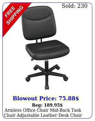 armless office chair midback task chair adjustable leather desk chair blac