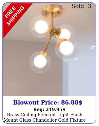 brass ceiling pendant light flush mount glass chandelier gold fixture bedroom u