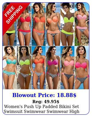 women's push up padded bikini set swimsuit swimwear swimwear high waist pant