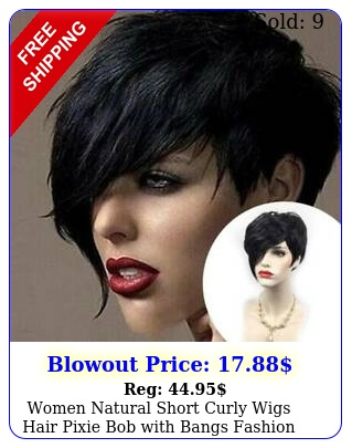 women natural short curly wigs hair pixie bob with bangs fashion party cospla