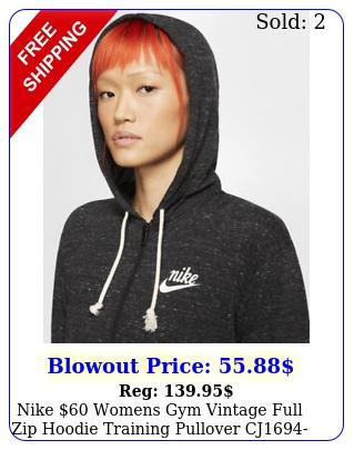 nike womens gym vintage full zip hoodie training pullover cj blac