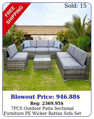 pcs outdoor patio sectional furniture pe wicker rattan sofa set garden yard u