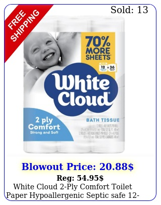 white cloud ply comfort toilet paper hypoallergenic septic safe rolls pac