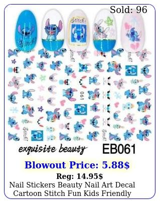 nail stickers beauty nail art decal cartoon stitch fun kids friendl