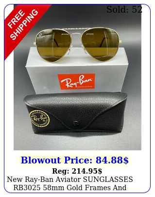 rayban aviator sunglasses rb mm gold frames brown lense