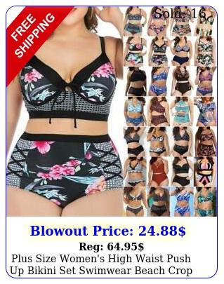 plus size women's high waist push up bikini set swimwear beach crop top padde