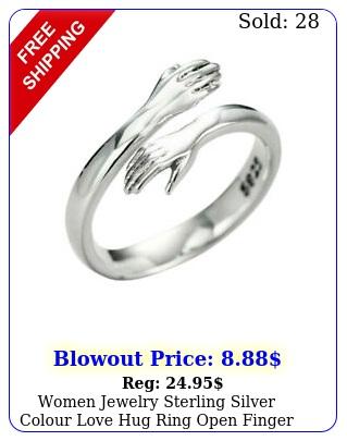women jewelry sterling silver colour love hug ring open finger fully adjustabl