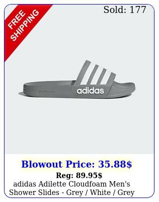 adidas adilette cloudfoam men's shower slides grey white grey