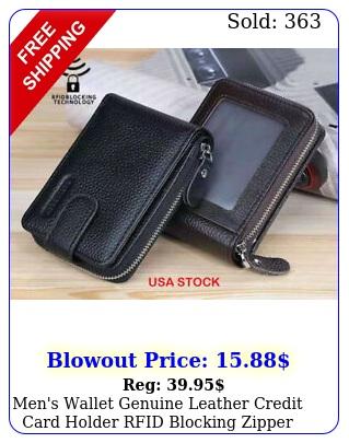 men's wallet genuine leather credit card holder rfid blocking zipper thin pocke