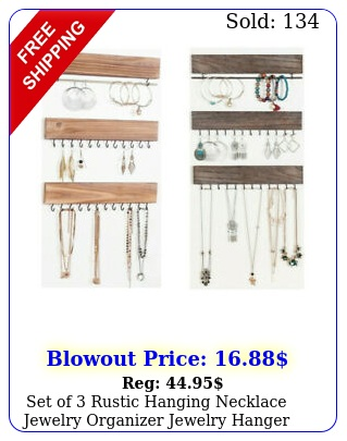 set of rustic hanging necklace jewelry organizer jewelry hanger wall mounte