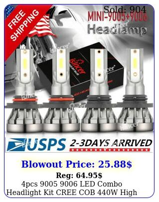 pcs  led combo headlight kit cree cob w high low beam light bulb